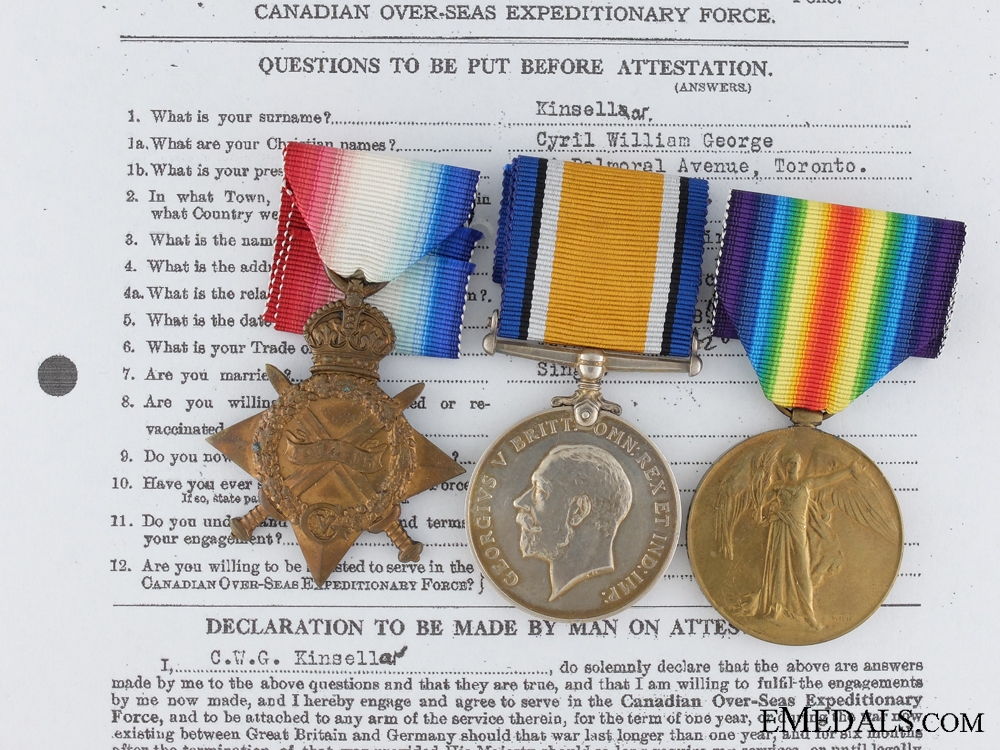eMedals-A First War Medal Group to the 4th Canadian Infantry CEF