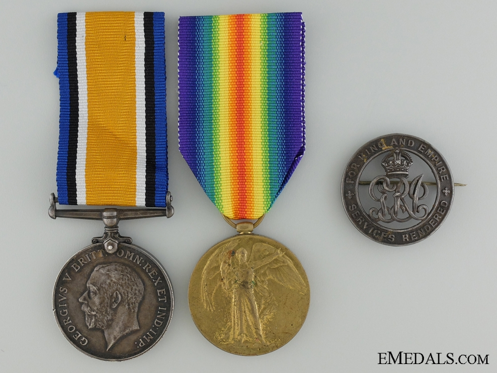eMedals-A First War Medal Pair & Badge to the Canadian Forestry Corps