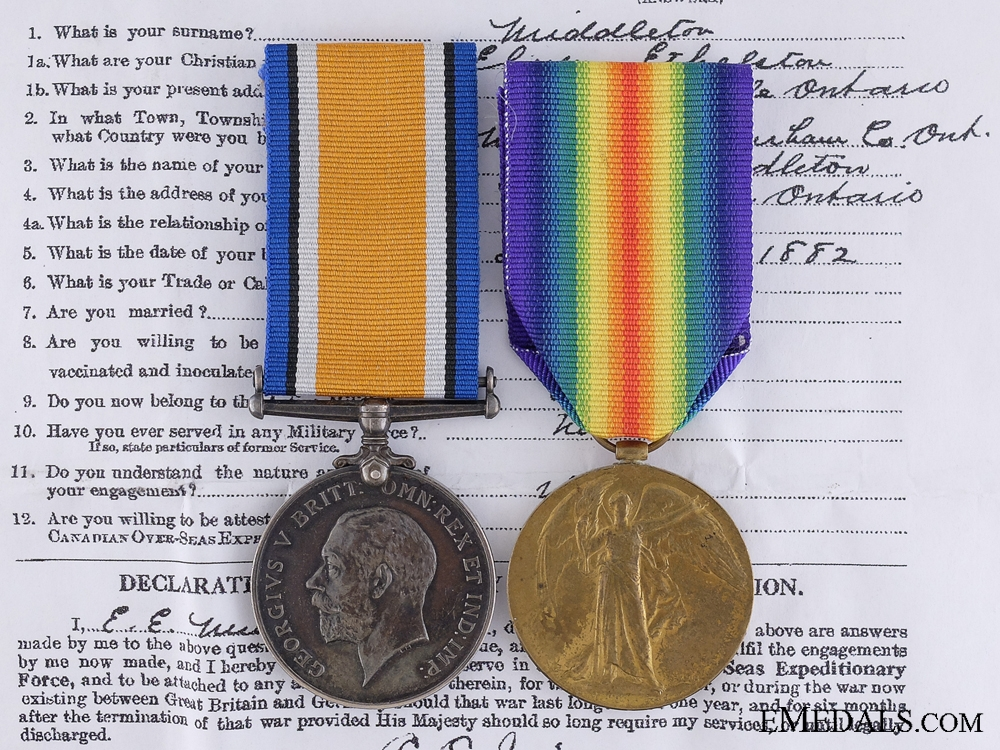 eMedals-A First War Medal Pair to the Canadian Railway Troops