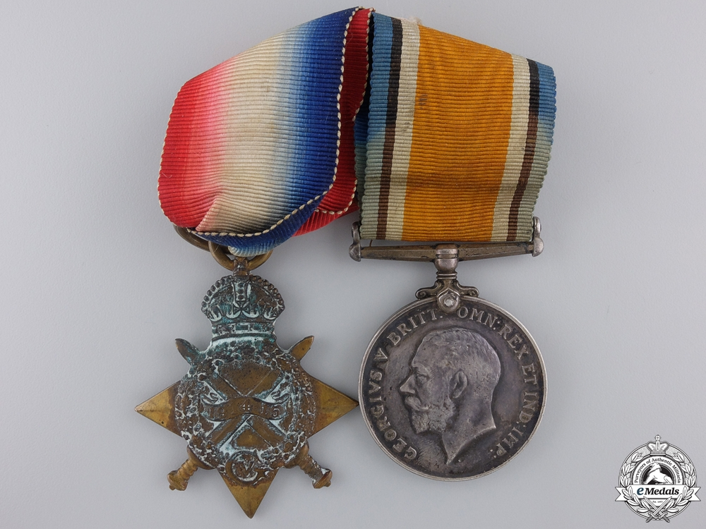 eMedals-A First War Medal Pair to the Royal Canadian Regiment