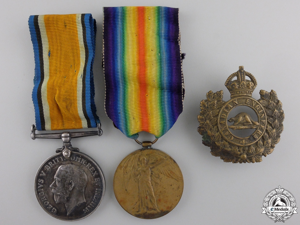 eMedals-A First War Medal Pair to the Canadian Engineers with Badge