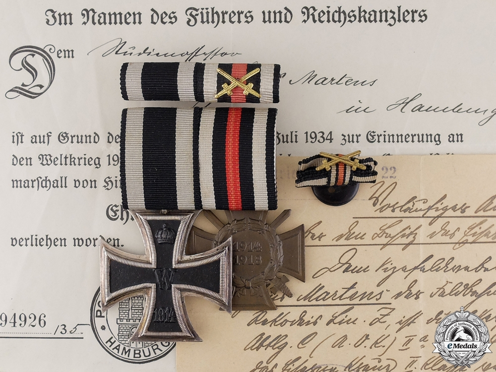 eMedals-A First War Medal Pair & Documents to Hans Martens