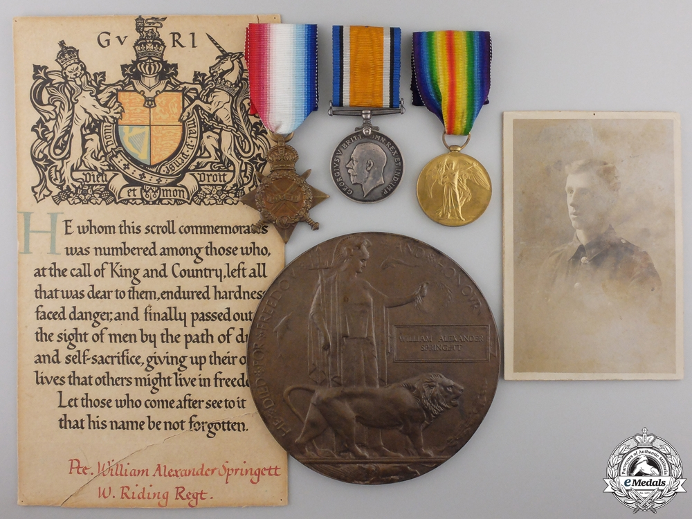 eMedals-A First War Memorial Group to the Duke of Wellington's Regiment