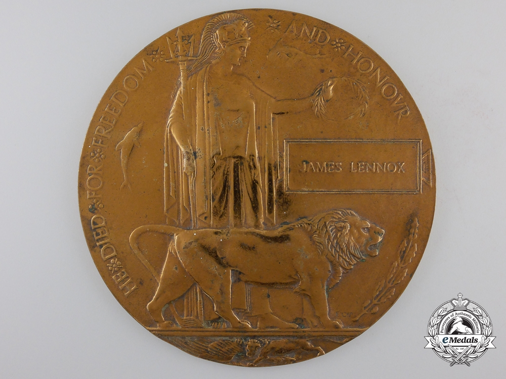 eMedals-A First War Memorial Plaque; Killed by German Mine 1916