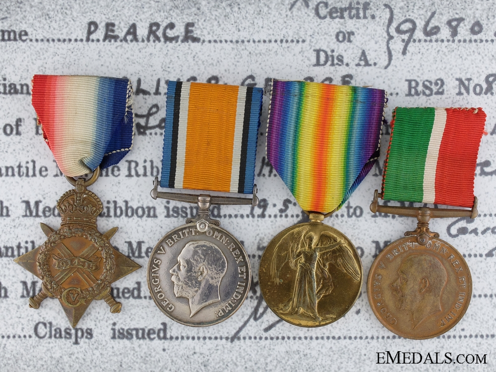 eMedals-A First War Mercantile Marine Medal Group to Oliver Pearce