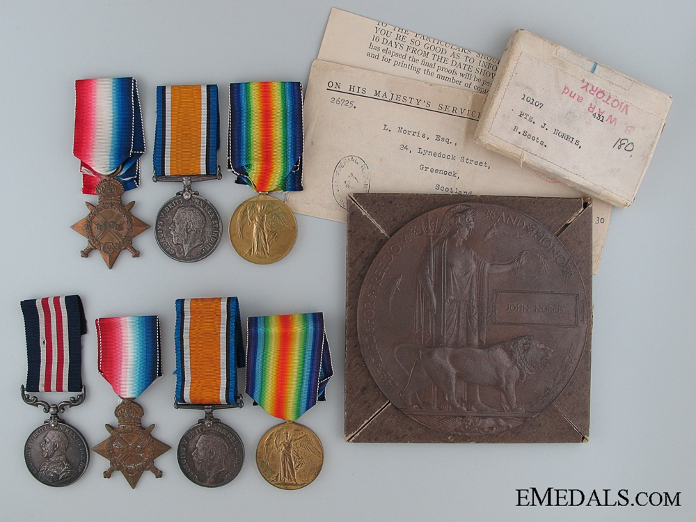 eMedals-A First War Military Medal & KIA Group to the Norris Brothers