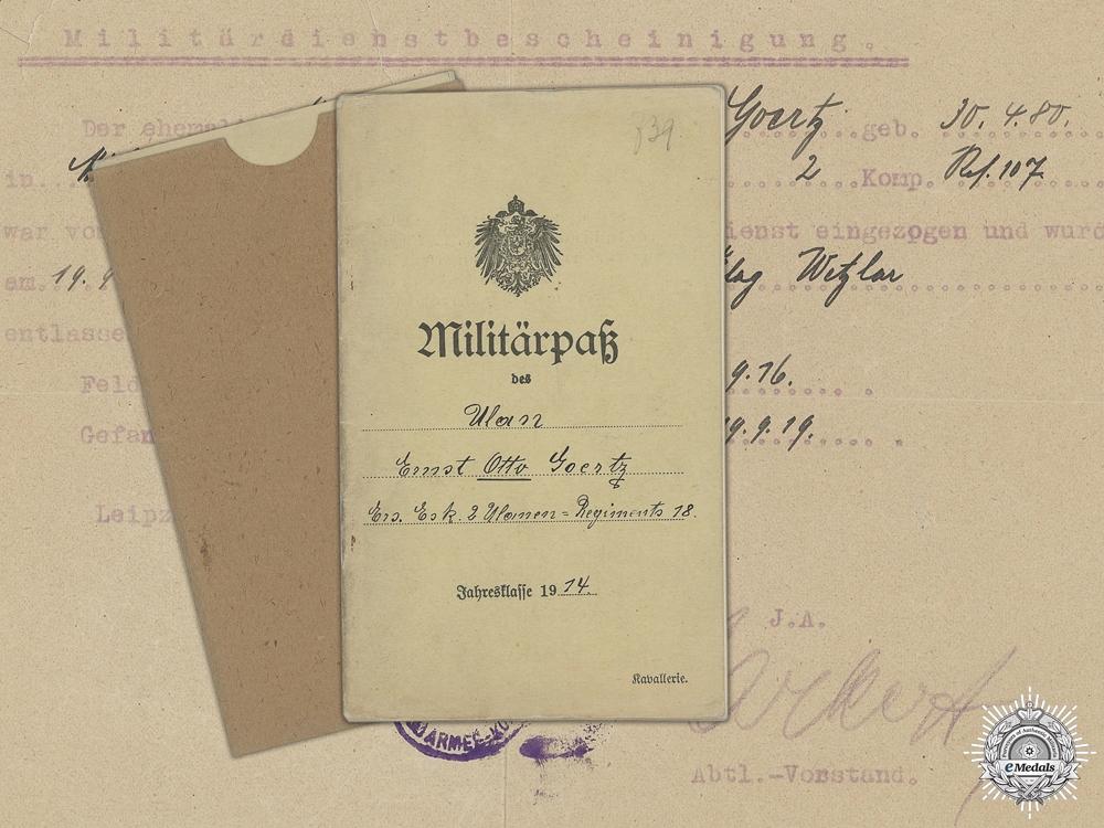 eMedals-A WWI Militärpaß to the 107th Reserve Infantry Regiment; Captured