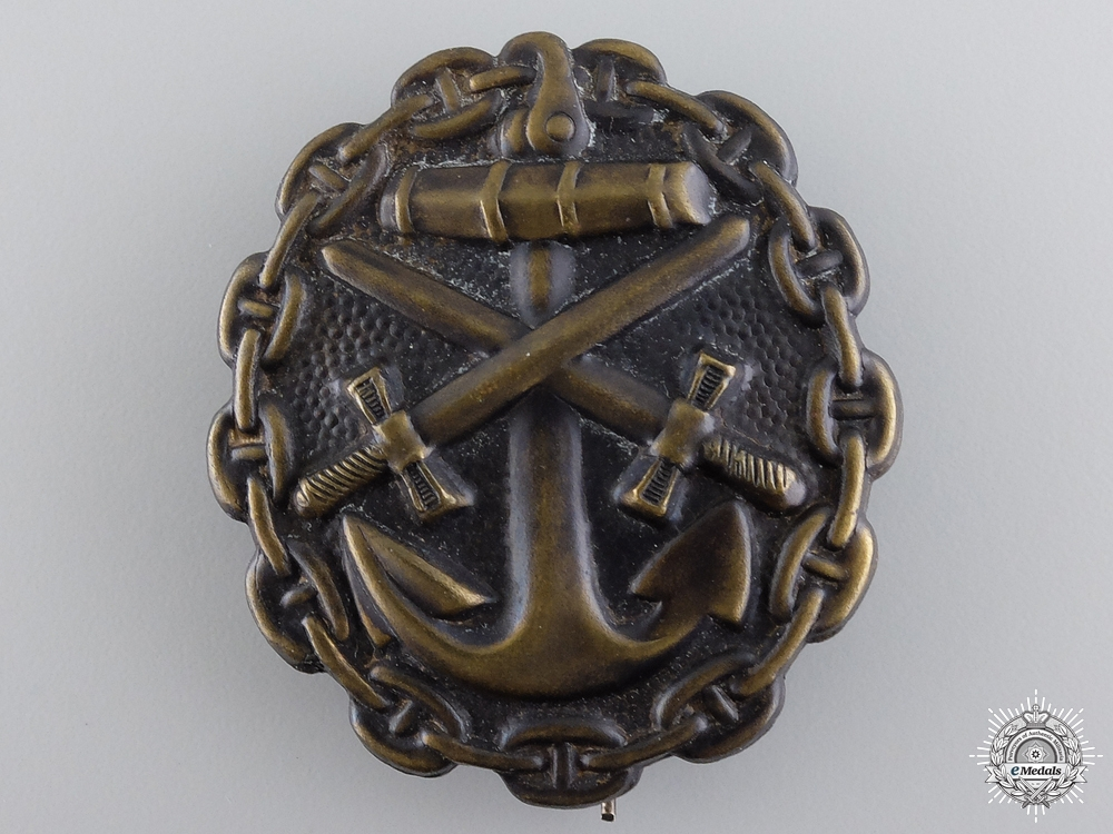 eMedals-A First War Naval Wound Badge; Black Grade