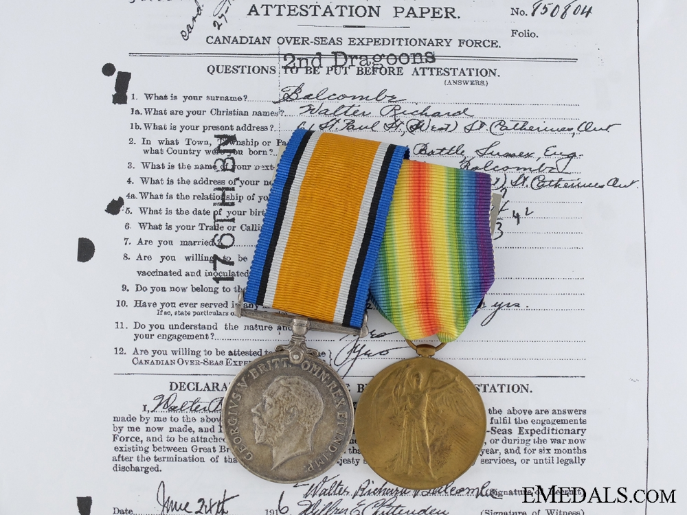 eMedals-A First War Pair to the Canadian Army Veterinary Corps CEF