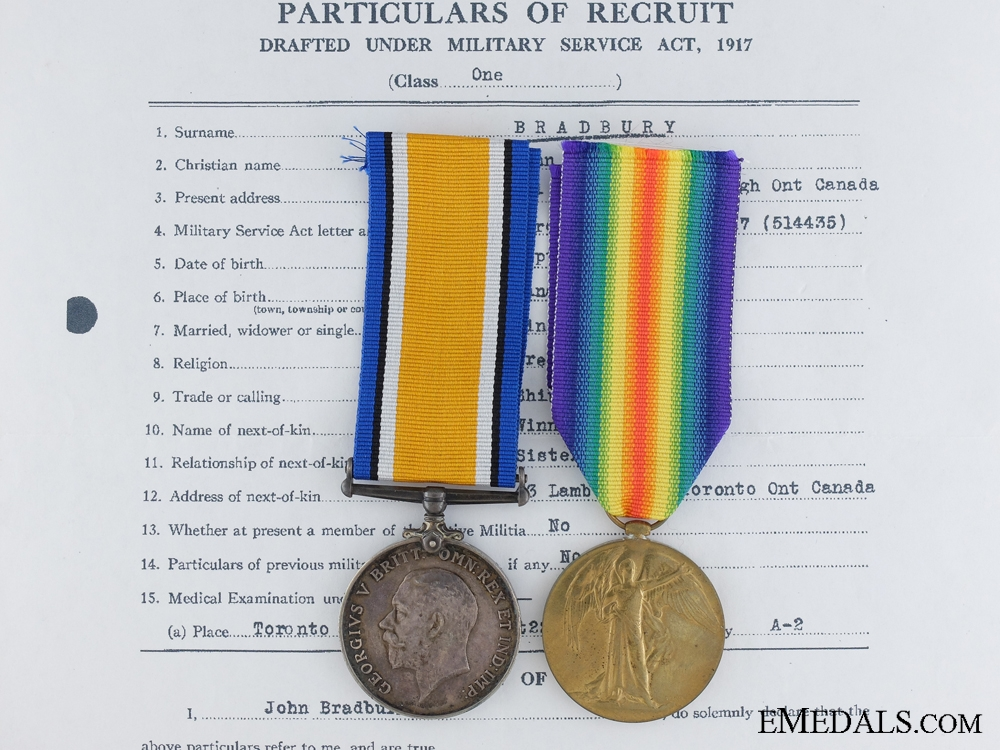 eMedals-A First War Pair to the Canadian Field Artillery