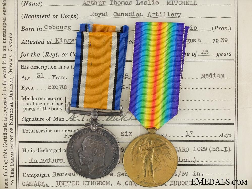 eMedals-A First War Pair to the Canadian Machine Gun Brigade CEF