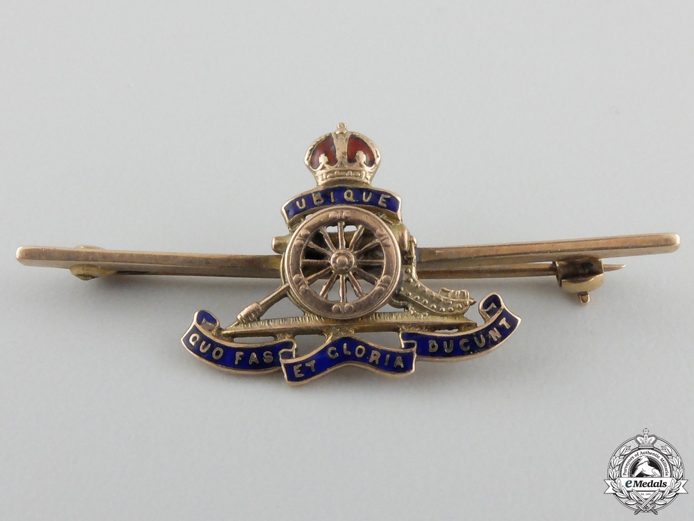 eMedals-A First War Royal Artillery Pin in Gold