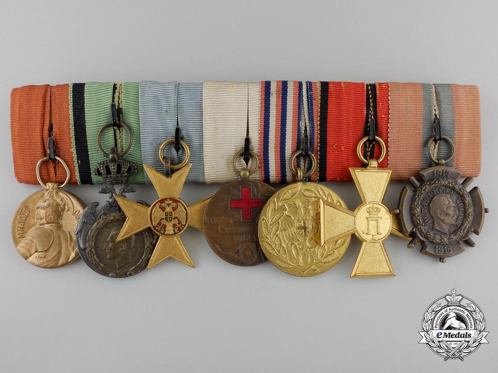 eMedals-A First War Serbian Medal Bar of Seven