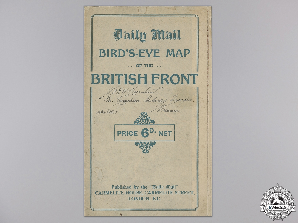eMedals-A First War Trench Map Named to Lieut. McNair, 1st Canadian