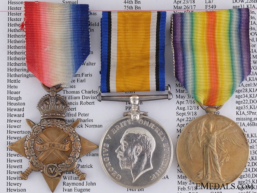 eMedals-A First War Trio to the 4 Canadian Infantry; KIA outside Vimy