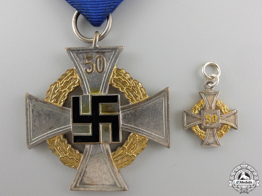 eMedals-A German Faithful Service Cross; 1st Class with Miniature