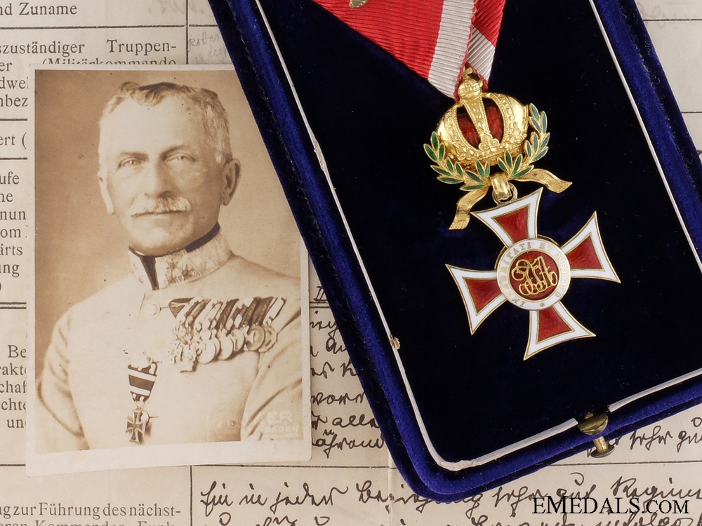 eMedals-A Gold Order of Leopold to  the Commanding Officer of the 7th K.k. Schutzen Regiment