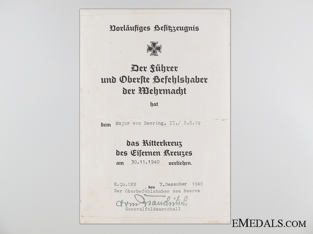 eMedals-A Knight's Cross Preliminary Award Document to Major von Doering