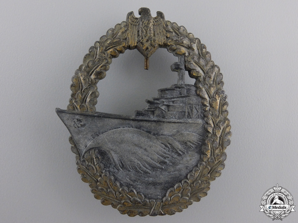 eMedals-A Kriegsmarine Destroyer War Badge by Josef Feix & Sohn