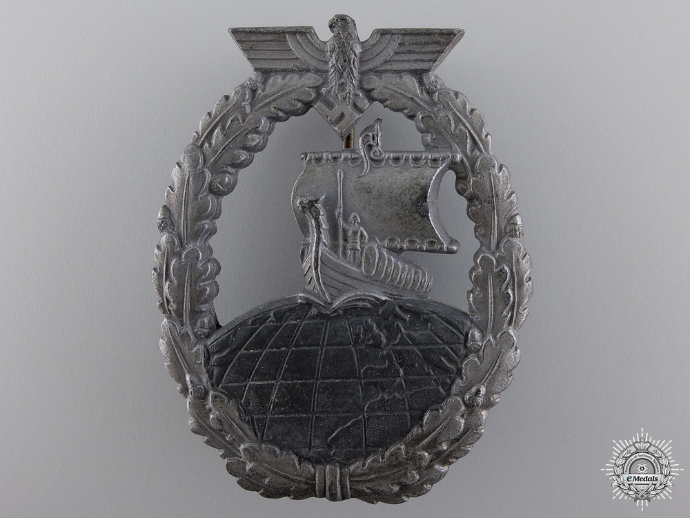 eMedals-A Kriegsmarine Naval Auxiliary Cruiser Badge by Friedrich Orth