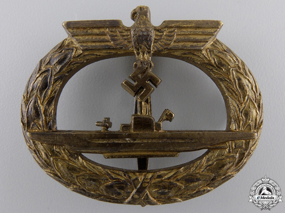 eMedals-A Kriegsmarine Submarine War Badge by Friedrich Orth