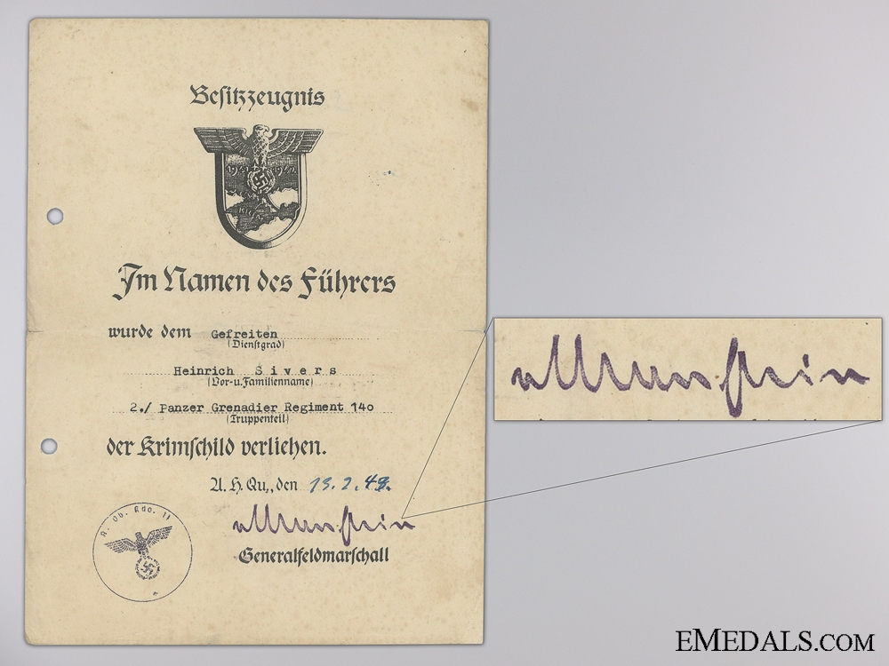 eMedals-A Krim Shield Award Document to the 140th Panzer Grenadier Reg.