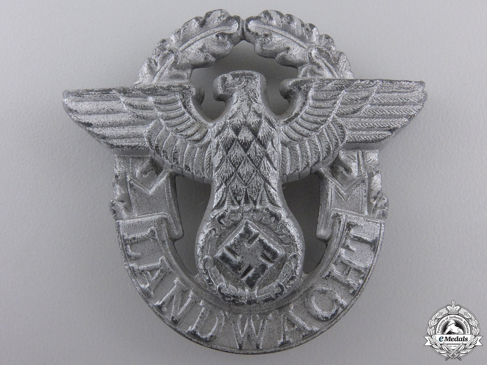 eMedals-A Landwacht Police Cap Badge