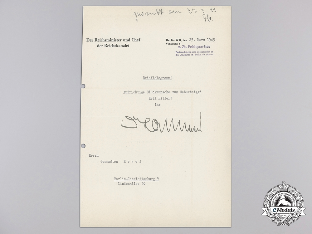 eMedals-A Letter to Hevel Signed Reich Chancellery Head Hans Lammers