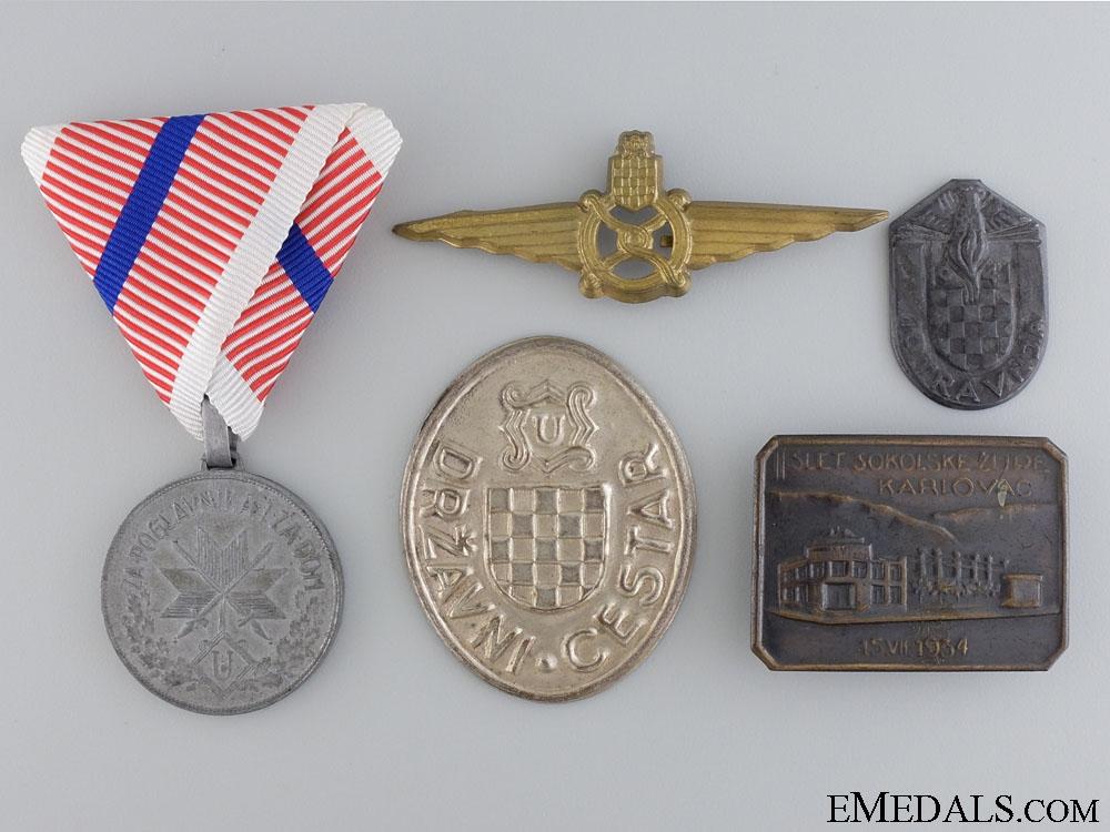 eMedals-A Lot of Five Croatian pre-1945 Items