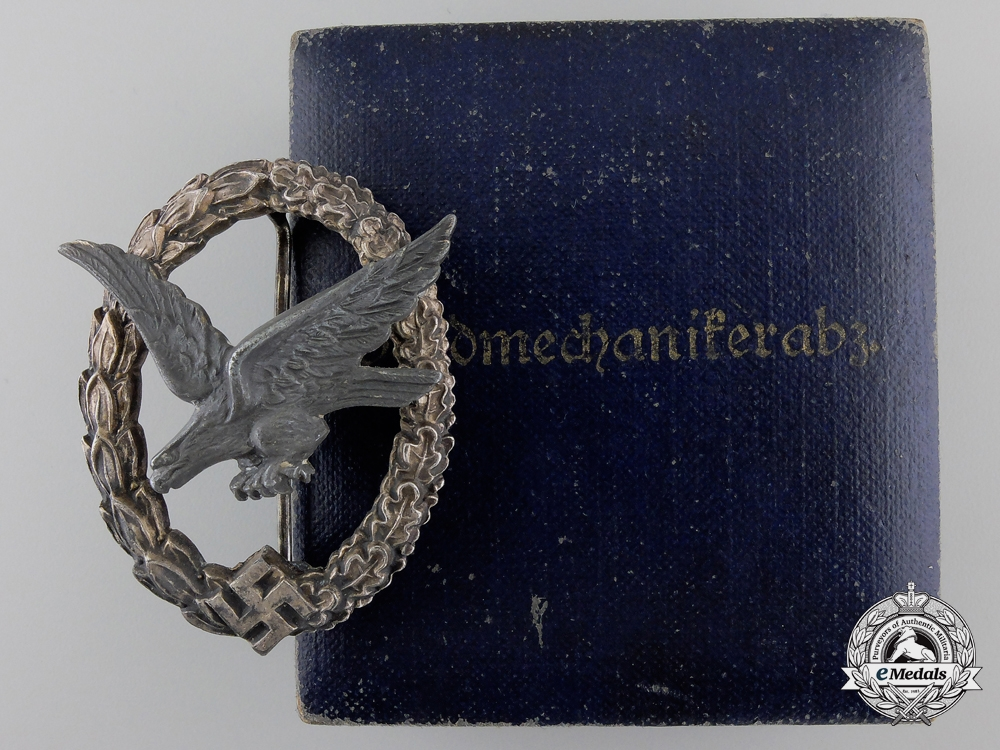 eMedals-A Luftwaffe Air Gunner Badge by W. Deumer with Case