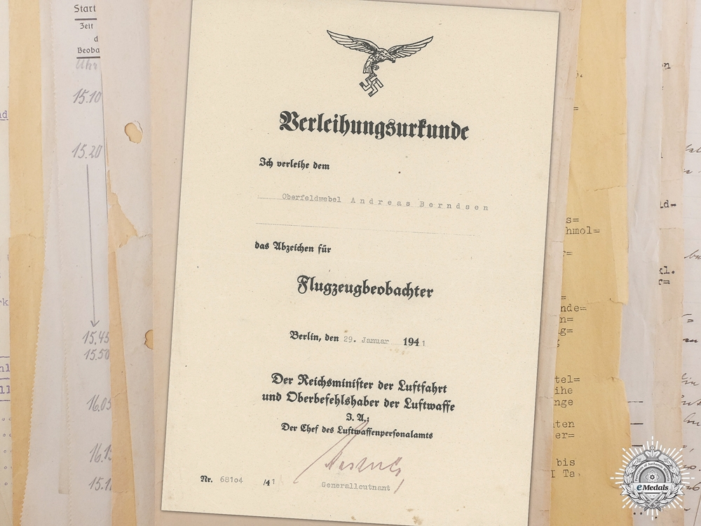 eMedals-A Luftwaffe Document Grouping to Observer Andreas Berndsen