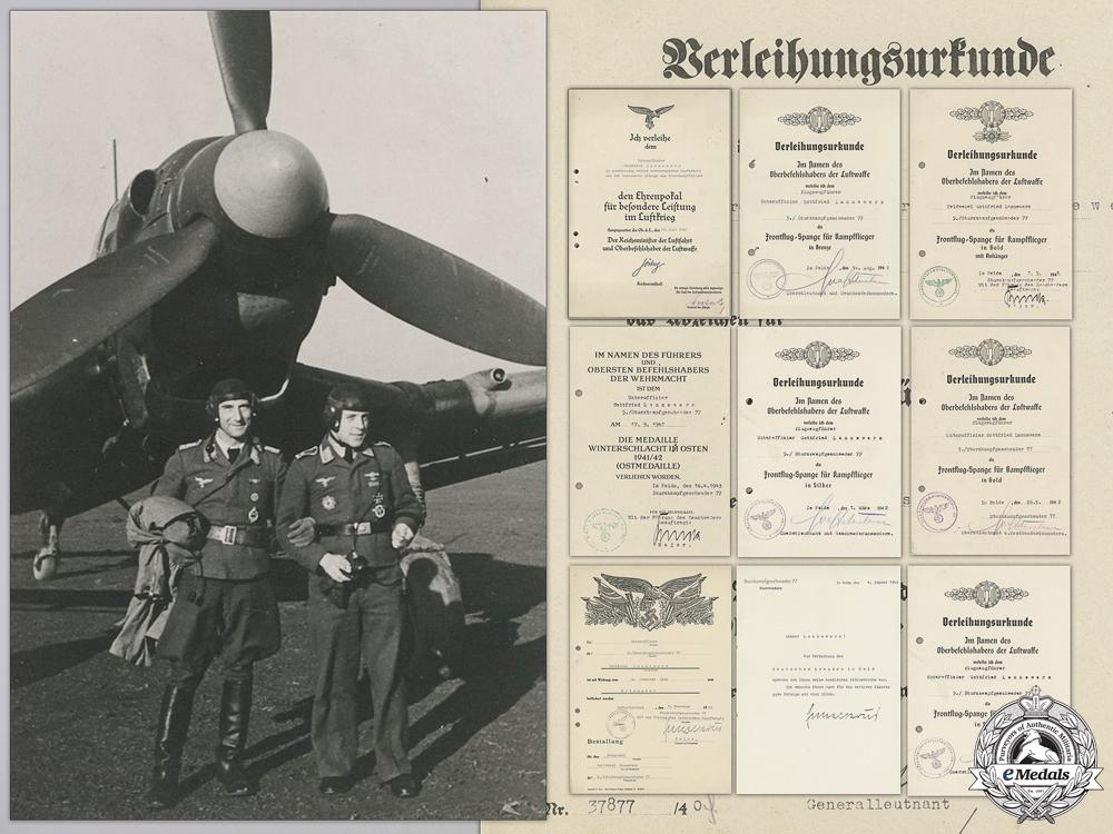 eMedals-A Luftwaffe Document Group to Stuka Pilot & DKG Recipient
