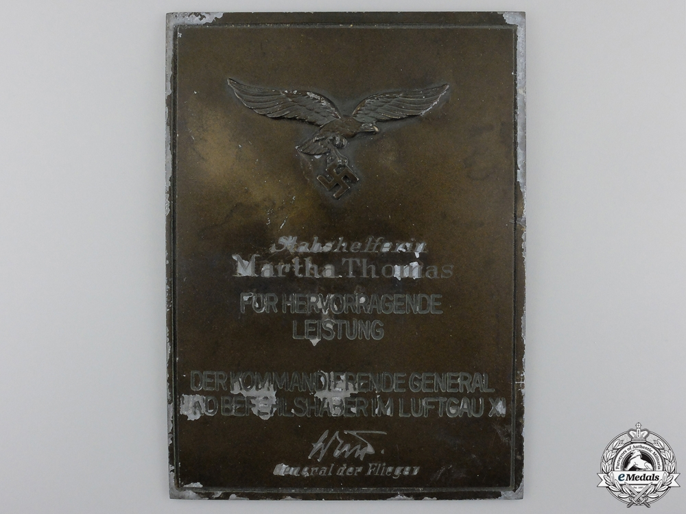 eMedals-A Luftwaffe Honour Plaque for Outstanding Achievement in Air District XI, Named to a Staff Assistant