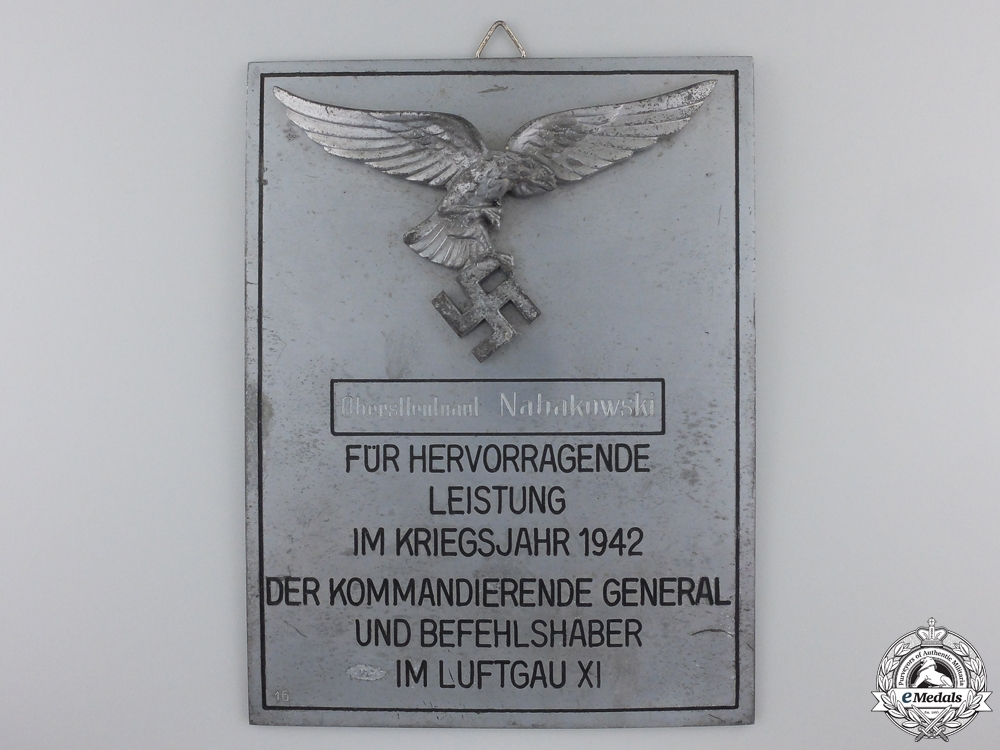 eMedals-A Luftwaffe Honour Plaque for Named to a Lieutenant Colonel in 1942