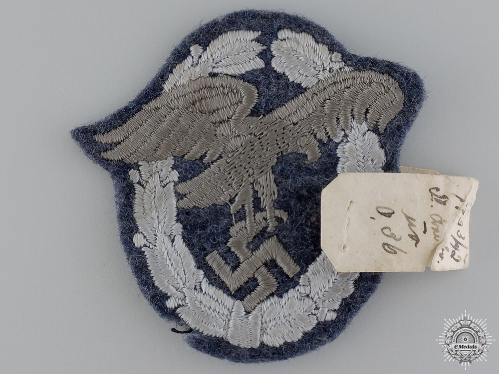 eMedals-A Luftwaffe Observer's Badge; Cloth Version with Sales Tag