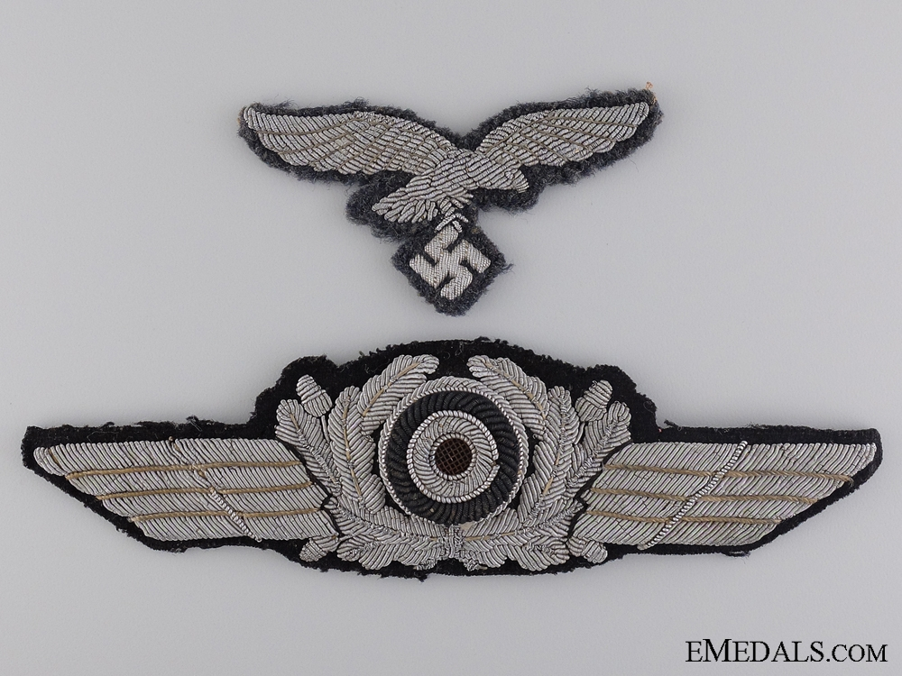 eMedals-A Luftwaffe Officer Visor Wreath with Cockade and Breast Eagle