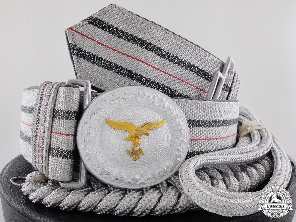 eMedals-A Luftwaffe Officer's Belt and Buckle with Aiguillette & Box