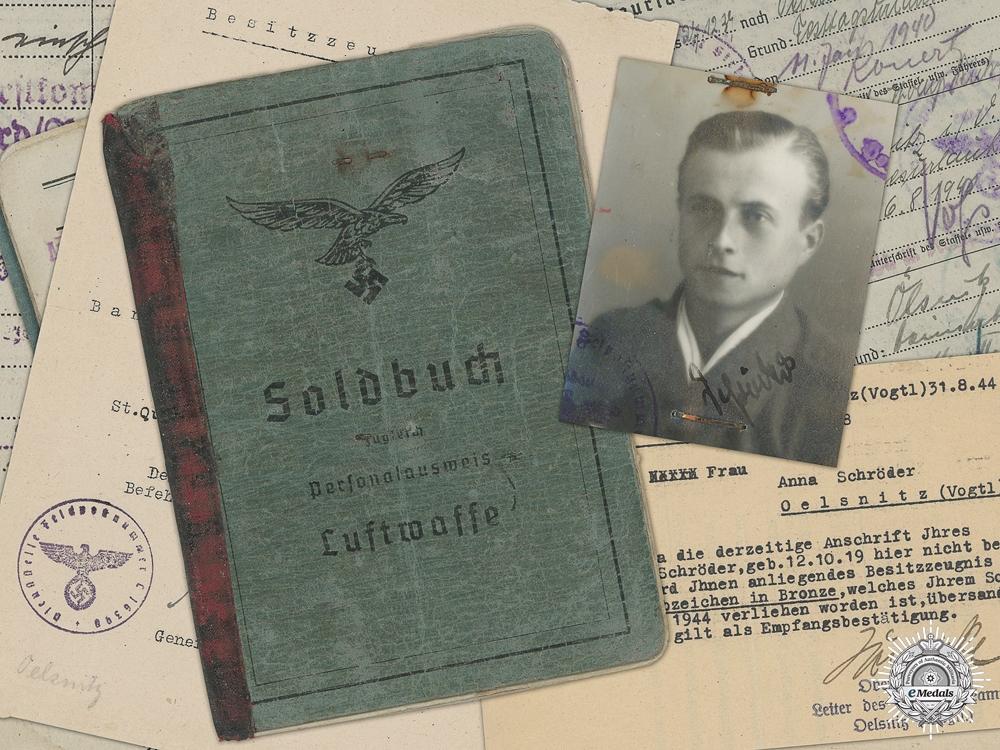 eMedals-A Luftwaffe Soldbuch & Anti-Partisan Document to Fallschirmjäger
