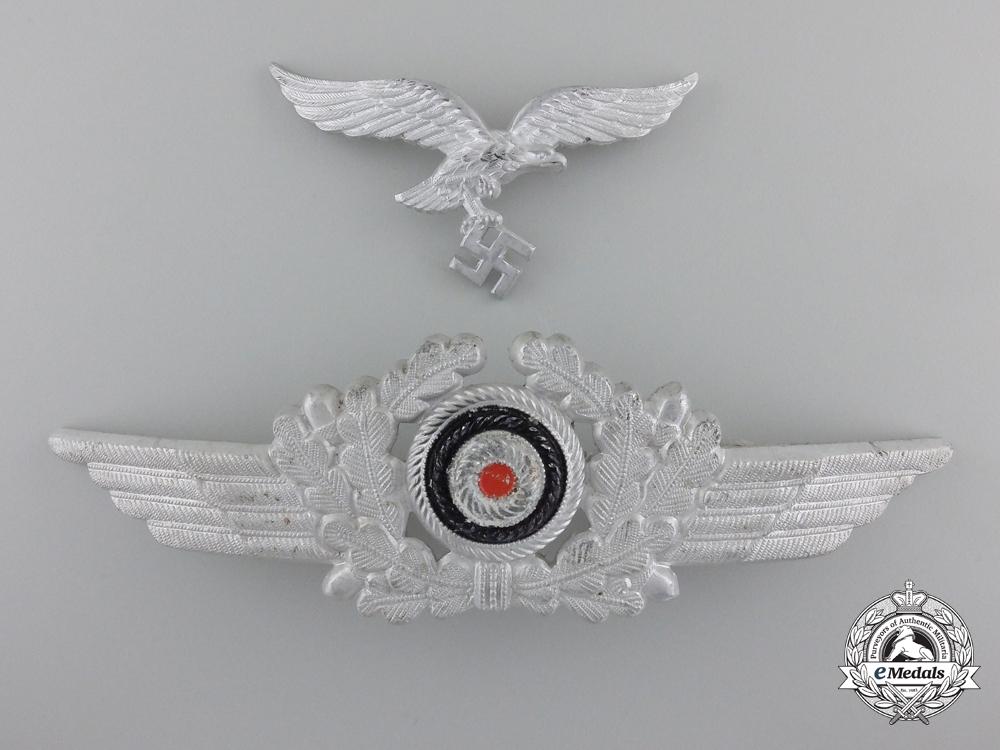 eMedals-A Luftwaffe Visor Wreath with Cockade and Visor Eagle