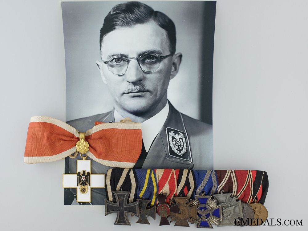 eMedals-A Medal Bar and Red Cross Award Attributed to Karl Fiehler