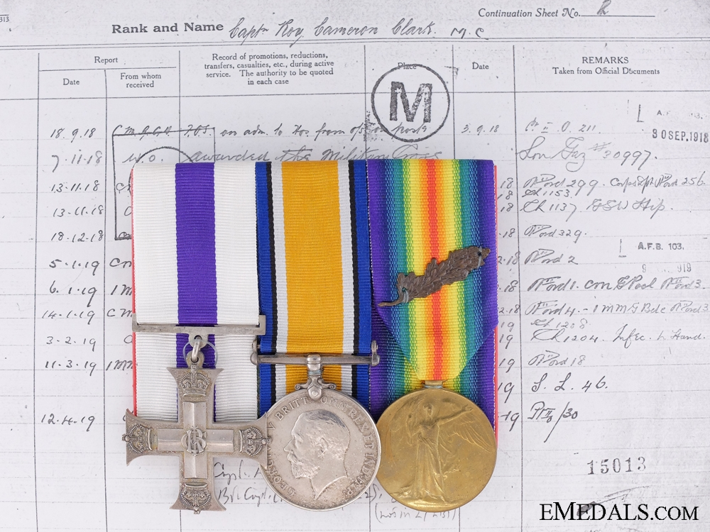 eMedals-A Military Cross Group to Capt.Clark; 1st Machine Gun Brigade CEF