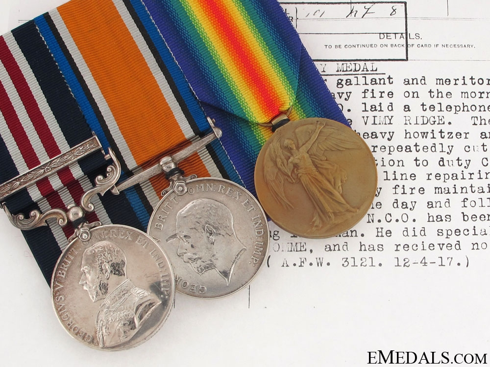 eMedals-A Military Medal for Action at Vimy Ridge