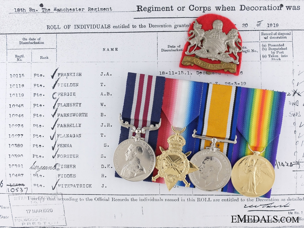 eMedals-A Military Medal with MID Group to the 18th Manchester Regiment