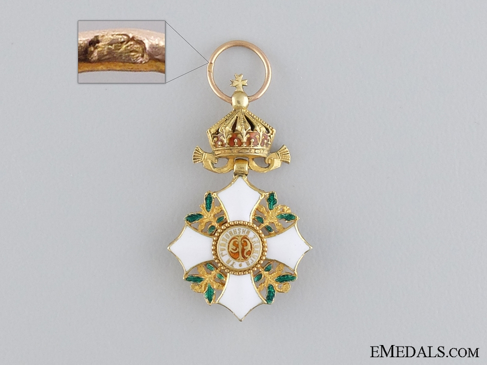eMedals-A Miniature Bulgarian Order of Civil Merit in Gold