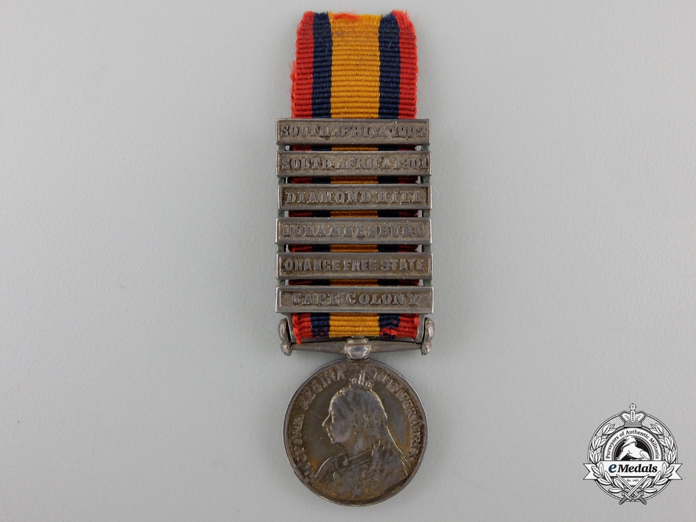 eMedals-A Miniature Queen's South Africa Medal; Named