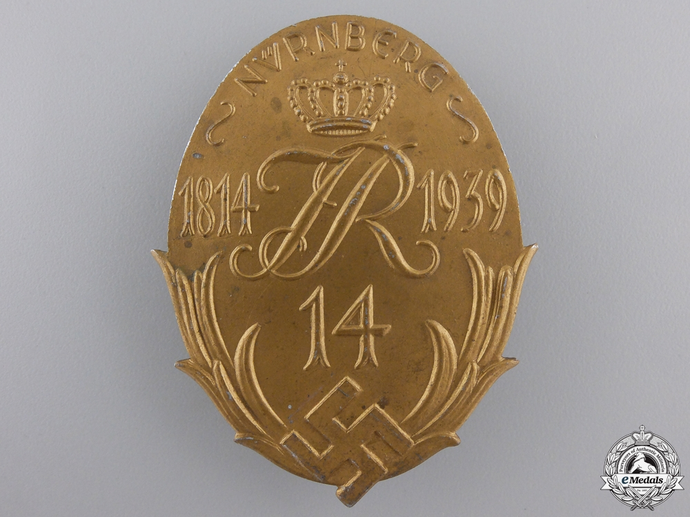 "eMedals-A Nürnberg's ""Infantry Regiment 14"" Badge 1814-1939"