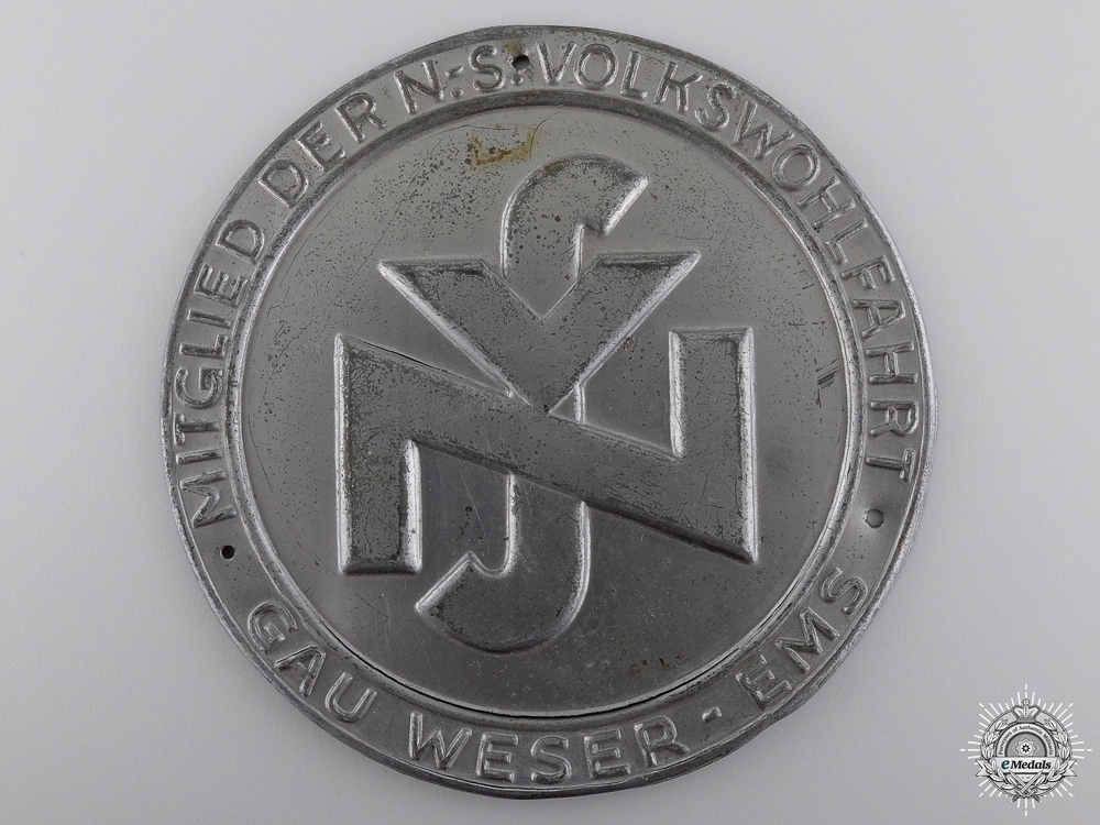 eMedals-A National Social People's Welfare (NSV) Weser-Ems Door Plate