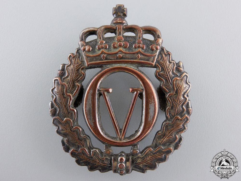 eMedals-A Norwegian King Olav V Army Cap Badge