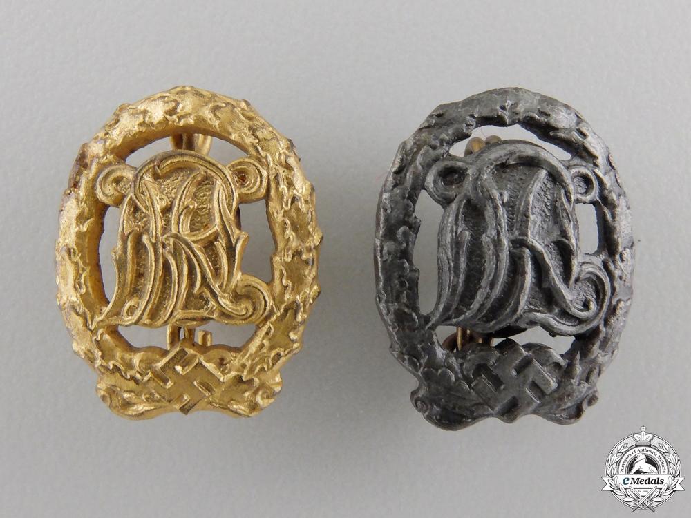 eMedals-A Pair of Miniature DRL Sport Badges; Gold & Bronze Grade