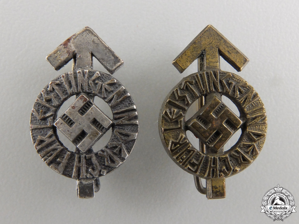 eMedals-A Pair of Miniature HJ Proficiency Badges: Silver & Bronze Grade